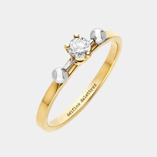 Delfina Delettrez - Fedina Two in One large in oro giallo e bianco e diamante solitario taglio brillante Rosanna Cattolico gioielli