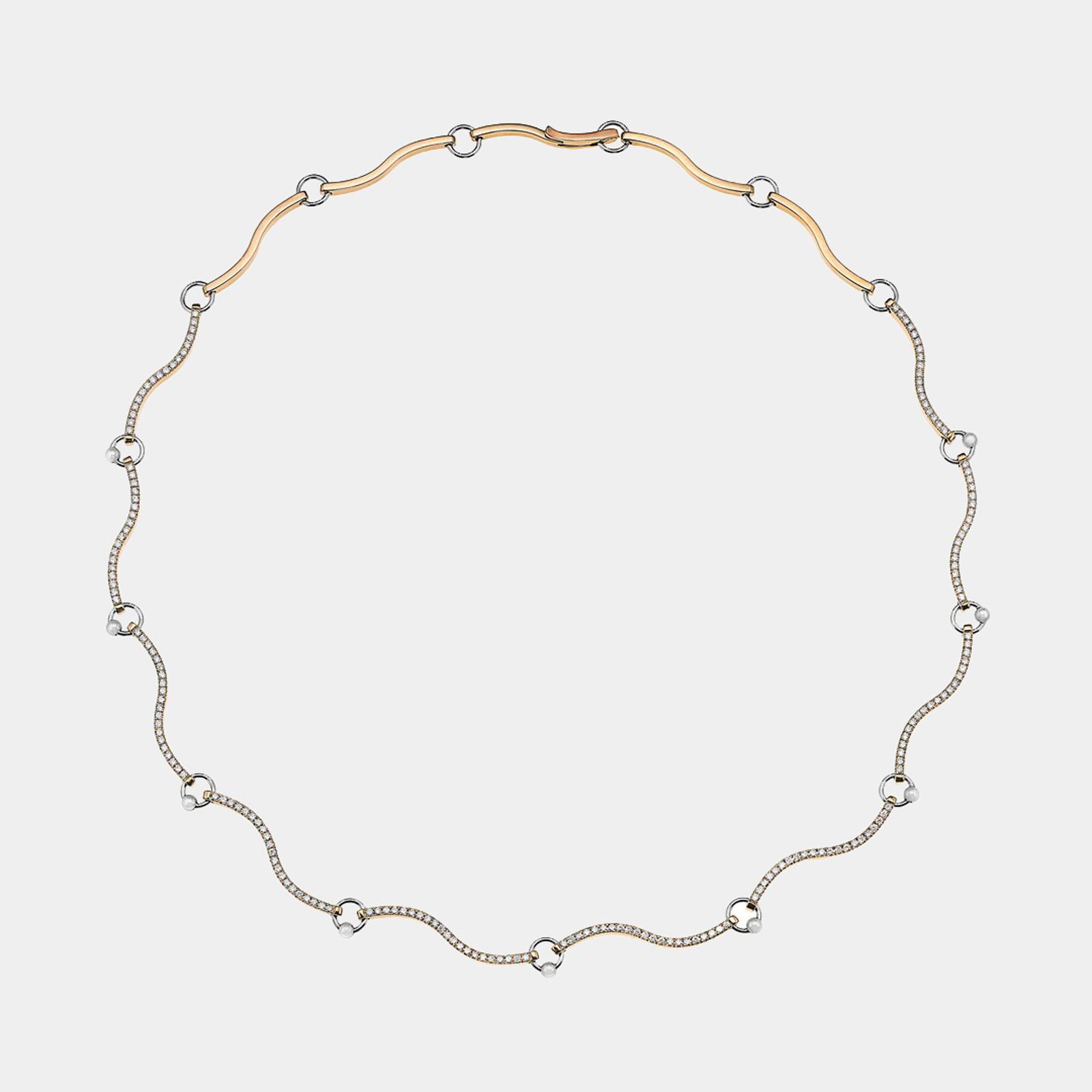Delfina Delettrez - Girocollo Two in One in oro giallo e bianco e diamanti bianchi Rosanna Cattolico gioielli