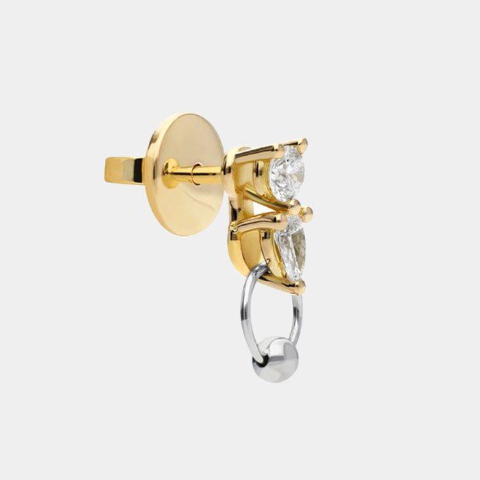 Delfina Delettrez - Mono orecchino Two in One in oro giallo e bianco e diamanti bianchi Rosanna Cattolico gioielli