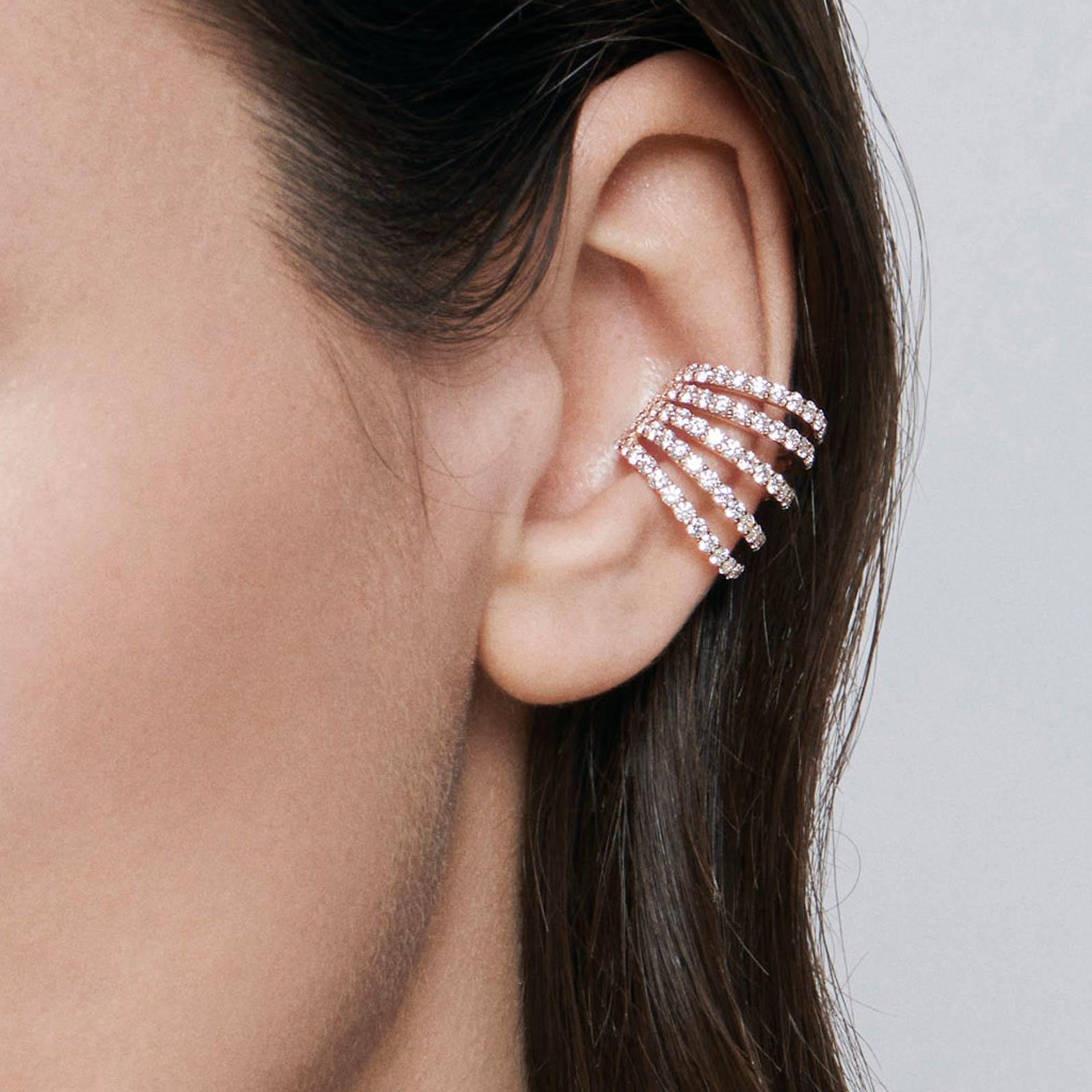 Crivelli - Mono orecchino earcuff in oro rosa e diamanti taglio brillante