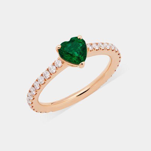 Fedina in oro rosa con diamanti e smeraldo taglio cuore - Rosanna Cattolico gioielli