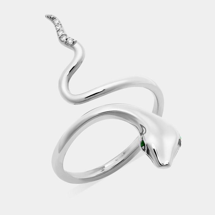 Anello serpente in oro bianco con smeraldi e diamanti - Rosanna Cattolico gioielli