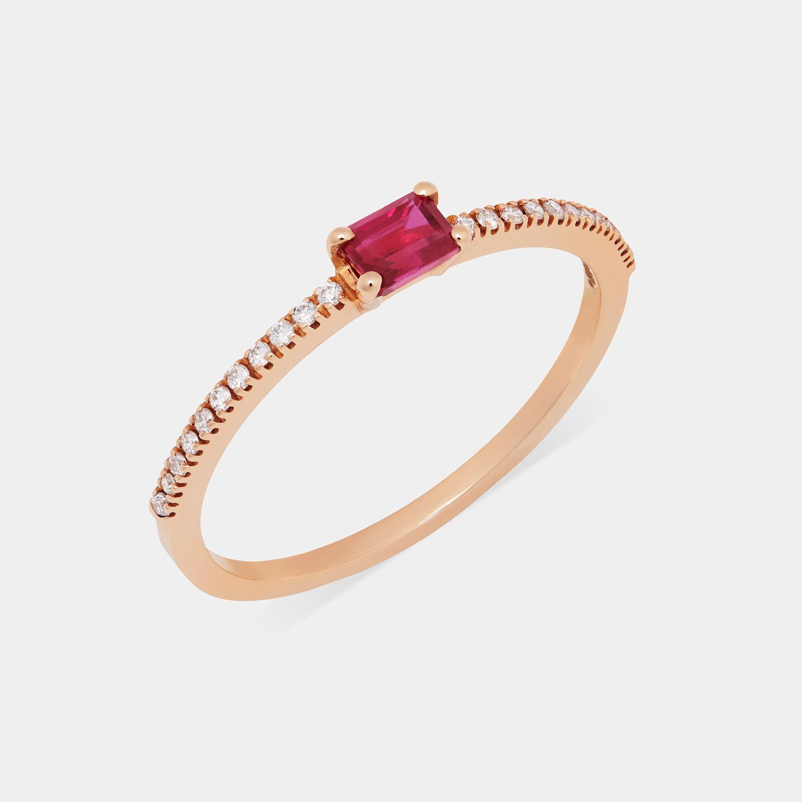 Fedina in oro rosa con diamanti e rubino taglio smeraldo - Rosanna Cattolico gioielli