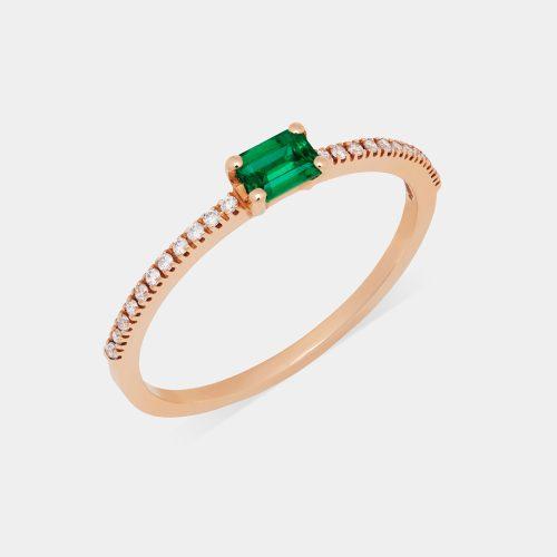 Fedina in oro rosa con diamanti e smeraldo taglio smeraldo - Rosanna Cattolico gioielli