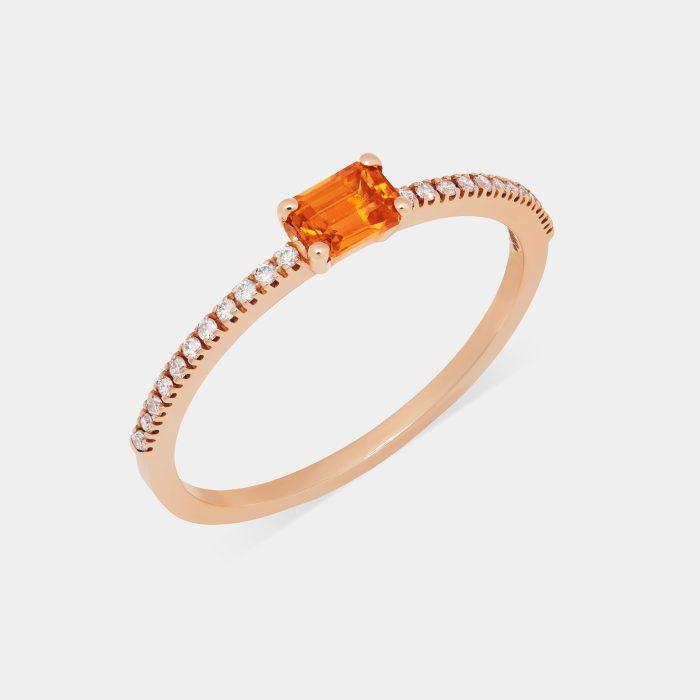 Fedina in oro rosa con diamanti e zaffiro taglio smeraldo - Rosanna Cattolico gioielli