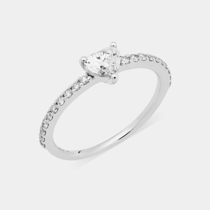 Anello cuore in oro bianco e diamanti - Rosanna Cattolico gioielli