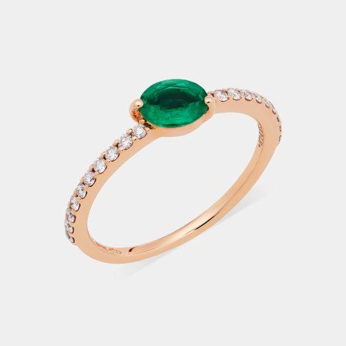 Anello in oro rosa e diamanti con smeraldo taglio ovale - Rosanna Cattolico gioielli
