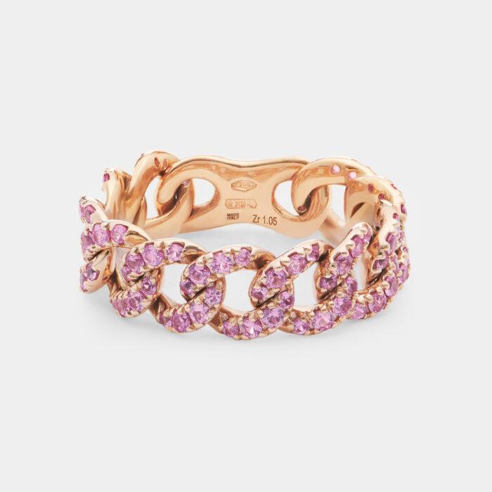 Anello groumette girodito in oro rosa con zaffiri rosa - Rosanna Cattolico gioielli