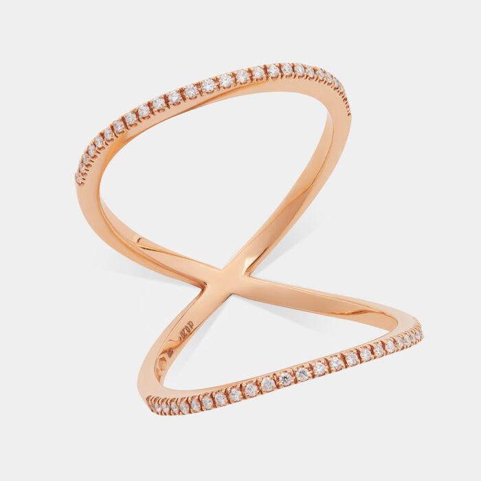 Doppia fedina in oro rosa e diamanti - Rosanna Cattolico gioielli