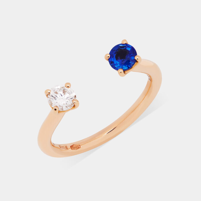 Fedina aperta in oro rosa con diamante e zaffiro - Rosanna Cattolico gioielli