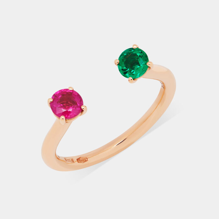 Fedina aperta in oro rosa con rubino e rubino e smeraldo - Rosanna Cattolico gioielli