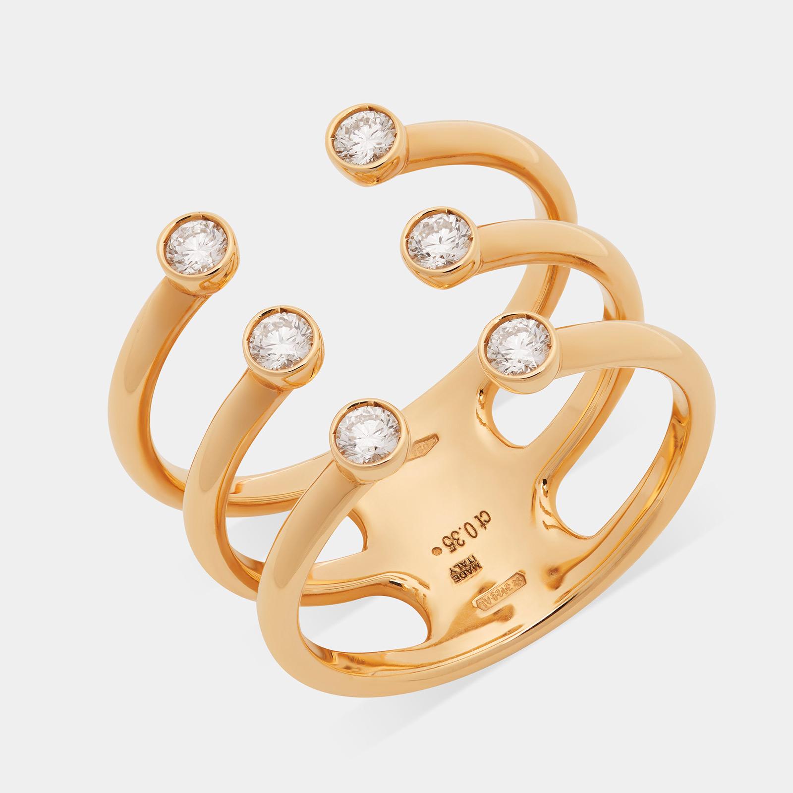 Tripla fedina aperta in oro giallo con diamanti - Rosanna Cattolico gioielli