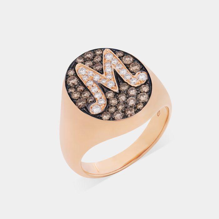 Anello Chevalier in oro rosa e diamanti - Rosanna Cattolico gioielli