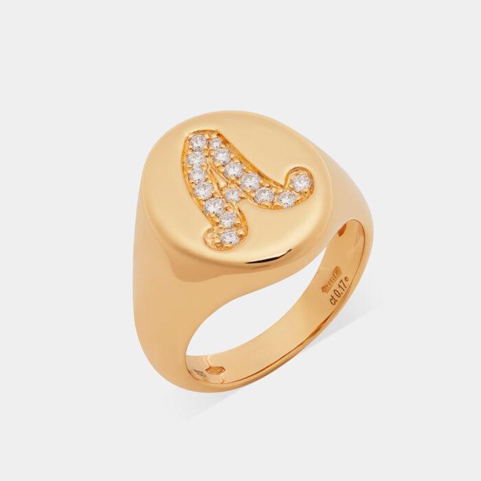 Anello Chevalier in oro giallo e diamanti - Rosanna Cattolico gioielli