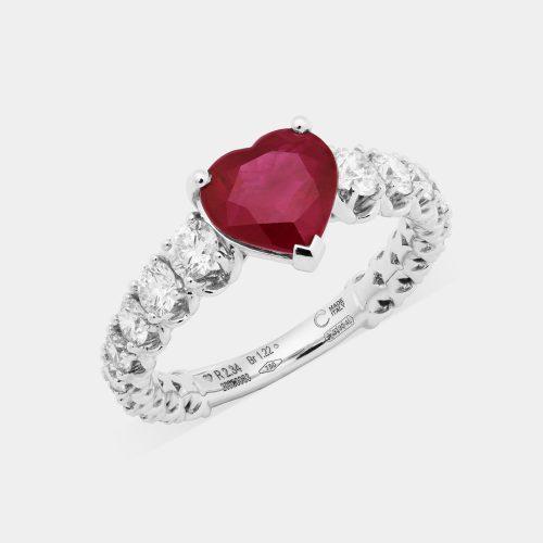 Fedina in oro bianco con diamanti e rubino taglio cuore - Rosanna Cattolico gioielli