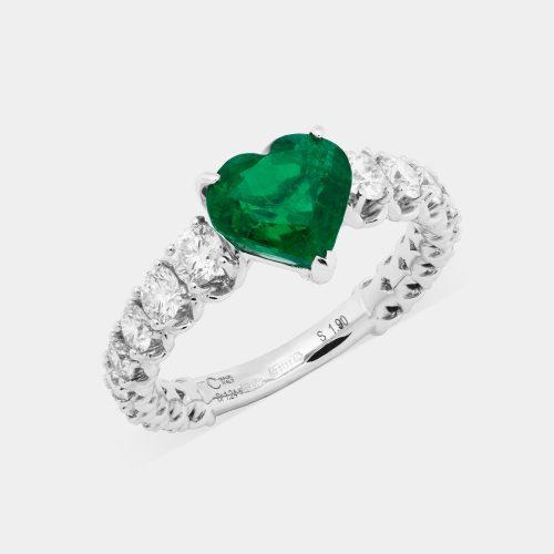 Fedina in oro bianco con diamanti e smeraldo taglio cuore - Rosanna Cattolico gioielli
