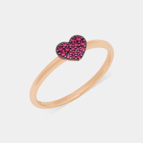 Fedina cuore in oro rosa e rubini - Rosanna Cattolico gioielli