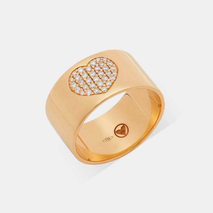 Anello fascia in oro giallo con cuore di diamanti - Rosanna Cattolico gioielli