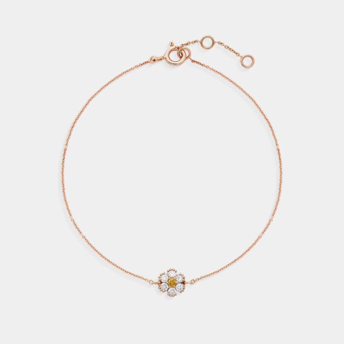 Bracciale fiore in oro rosa diamanti e zaffiro giallo - Rosanna Cattolico gioielli