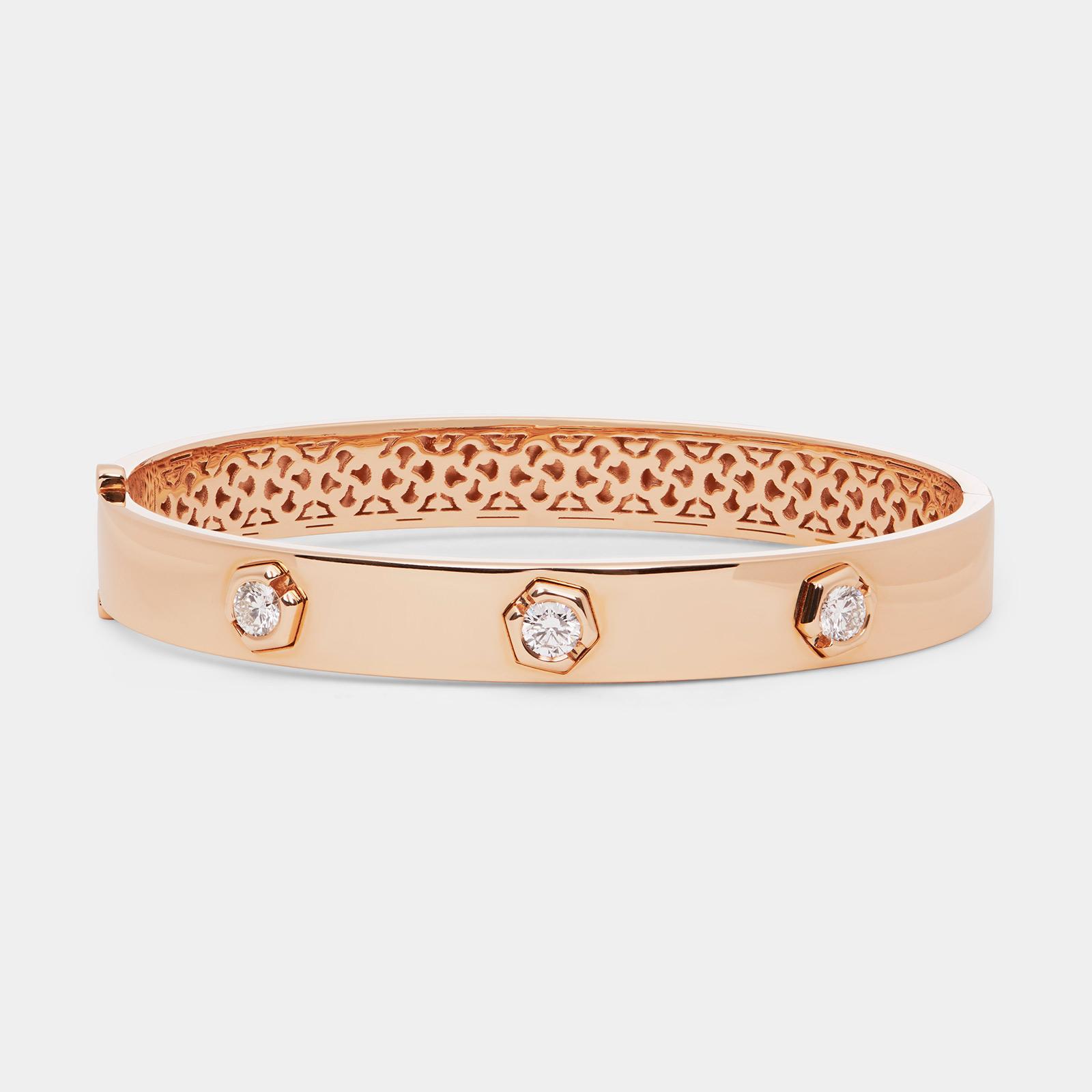 Bracciale manetta rigido in oro rosa e diamanti - Rosanna Cattolico gioielli