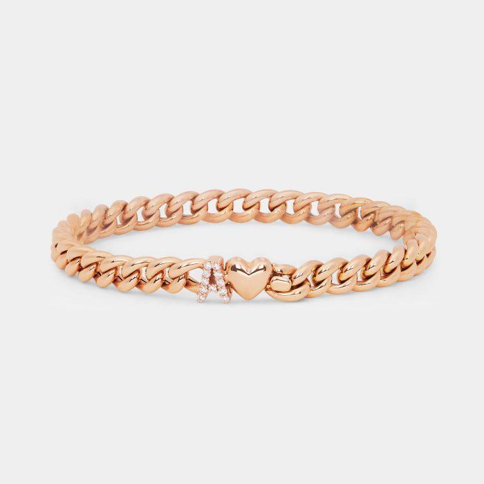 Bracciale personalizzato piccola groumette in oro rosa e diamanti - Rosanna Cattolico gioielli
