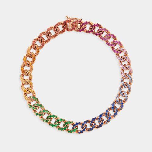 Bracciale groumette in oro rosa con zaffiri multicolor - Rosanna Cattolico gioielli