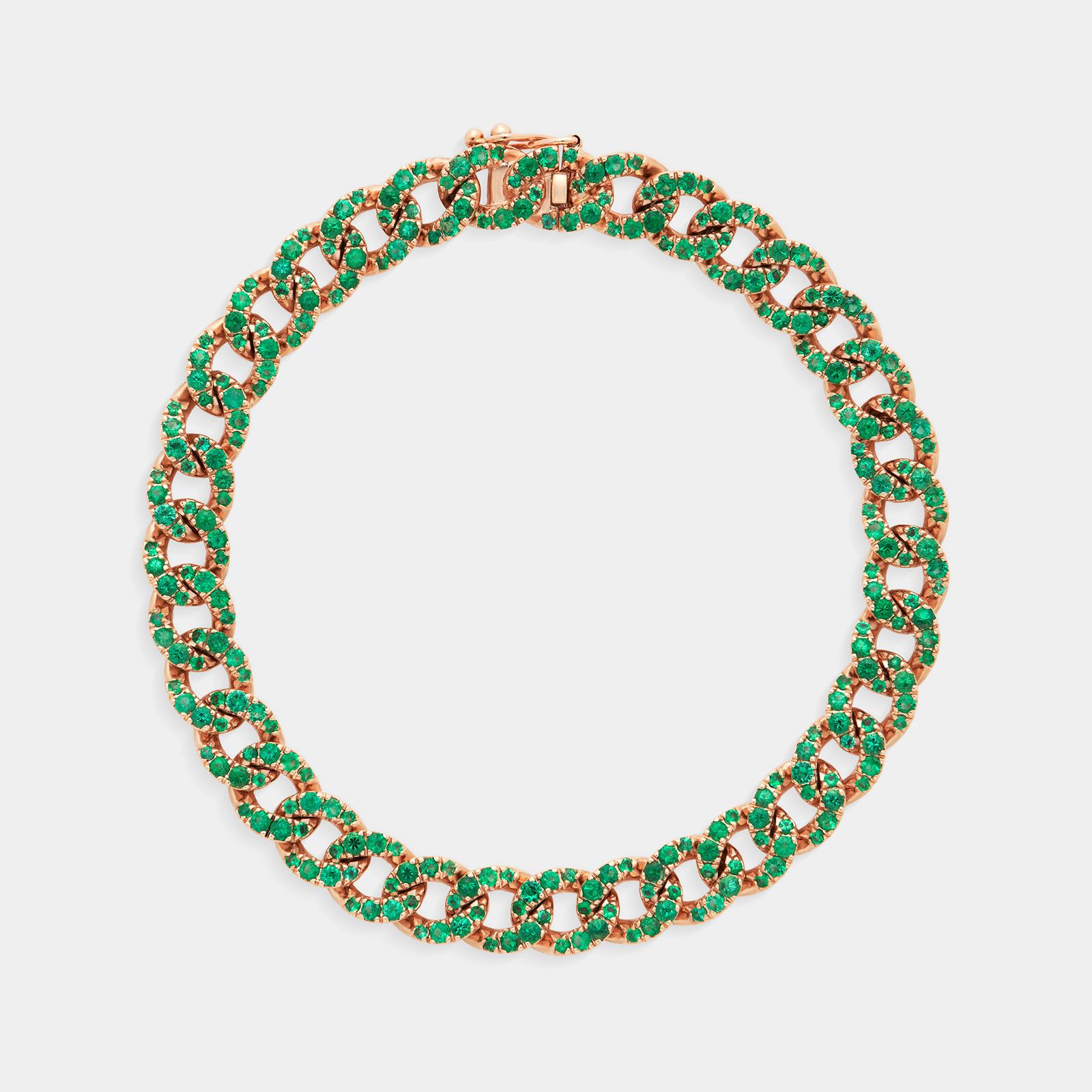 Bracciale groumette in oro rosa con smeraldi - Rosanna Cattolico gioielli