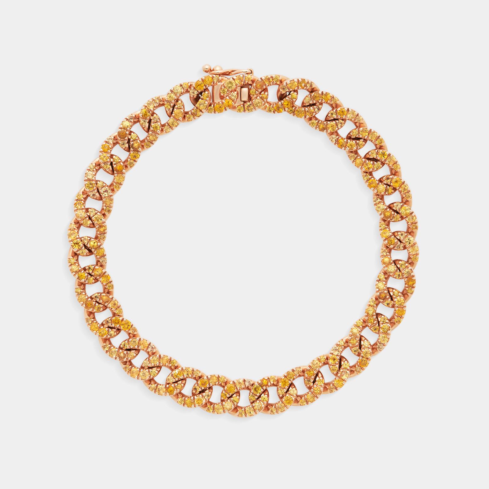 Bracciale groumette in oro rosa con zaffiri gialli - Rosanna Cattolico gioielli