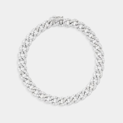 Bracciale groumette in oro bianco e diamanti - Rosanna Cattolico gioielli