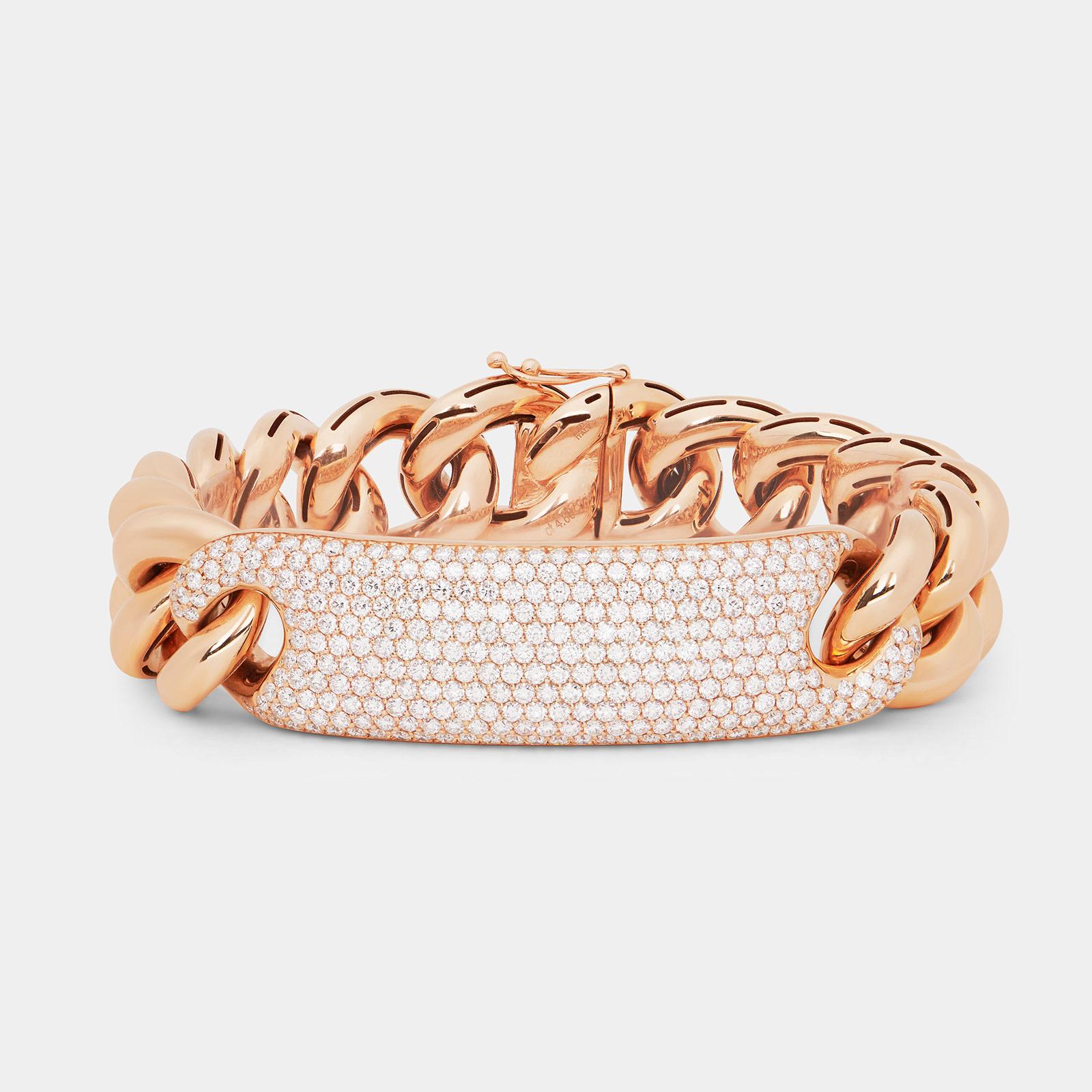 Bracciale groumette in oro rosa e pavé di diamanti - Rosanna Cattolico gioielli