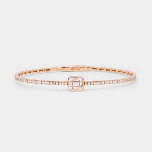 Bracciale rigido in oro rosa e diamanti - Rosanna Cattolico gioielli