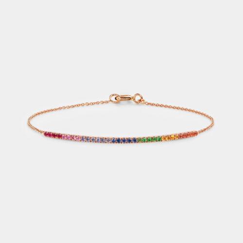 Bracciale in oro rosa e zaffiri multicolor - Rosanna Cattolico gioielli