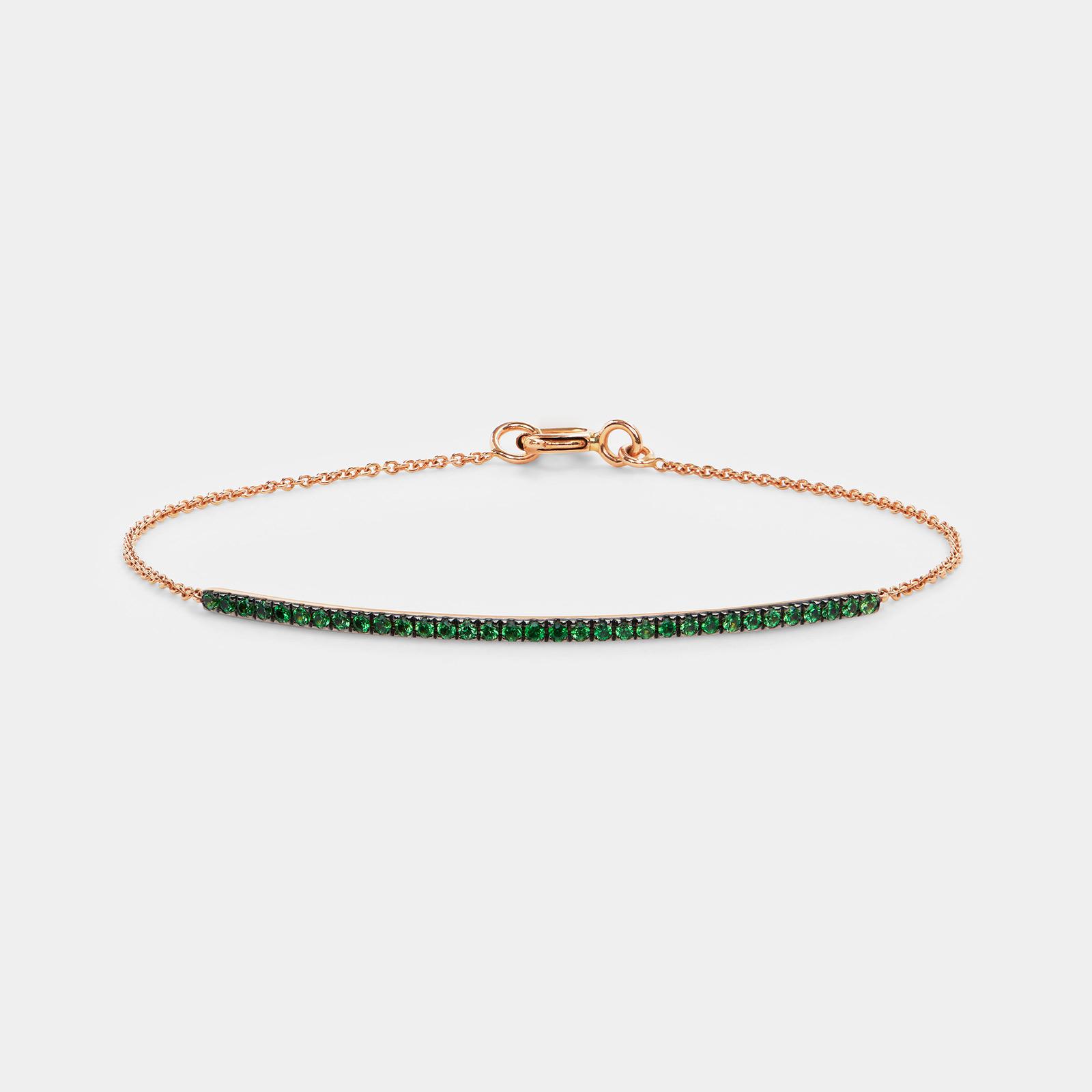 Bracciale in oro rosa e smeraldi - Rosanna Cattolico gioielli