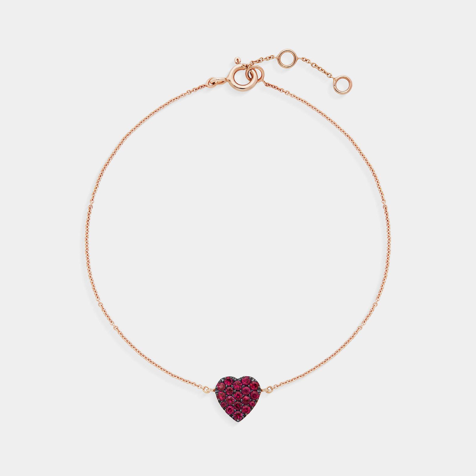 Bracciale cuore in oro rosa e rubini - Rosanna Cattolico gioielli