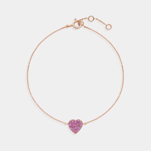 Bracciale cuore in oro rosa e zaffiri rosa - Rosanna Cattolico gioielli