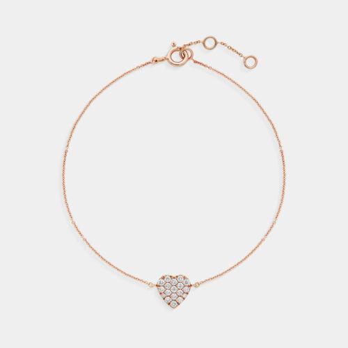 Bracciale cuore in oro rosa e diamanti - Rosanna Cattolico gioielli