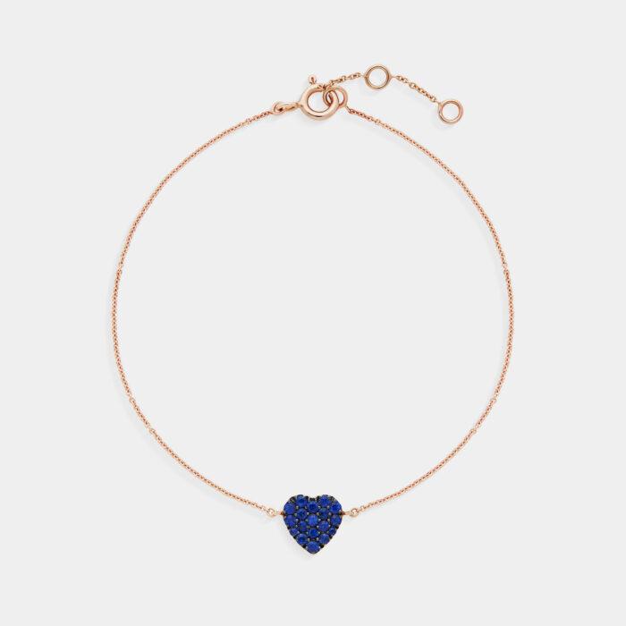 Bracciale cuore in oro rosa e zaffiri - Rosanna Cattolico gioielli