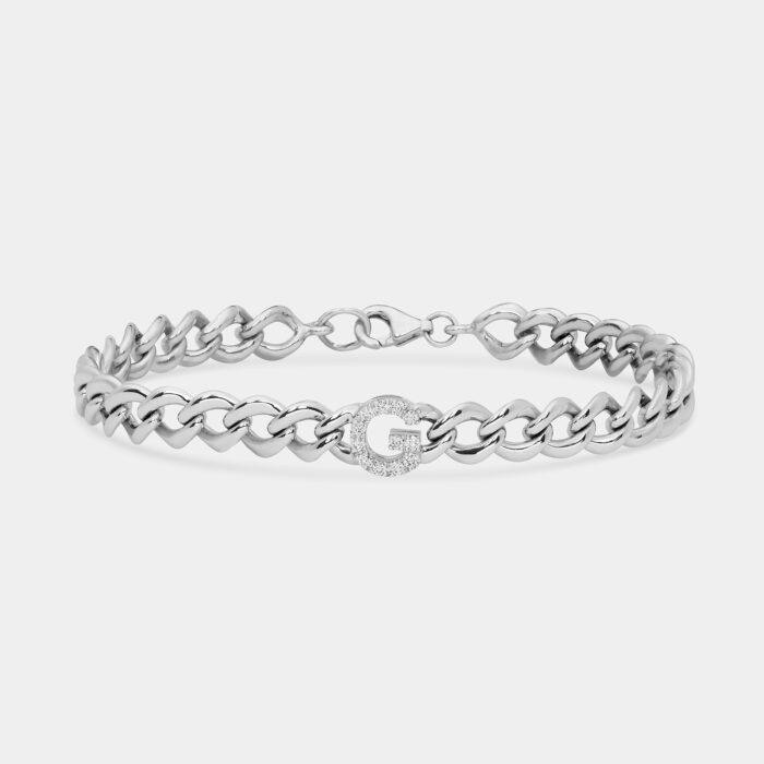 Bracciale groumette letterina in oro bianco e diamanti - Rosanna Cattolico gioielli