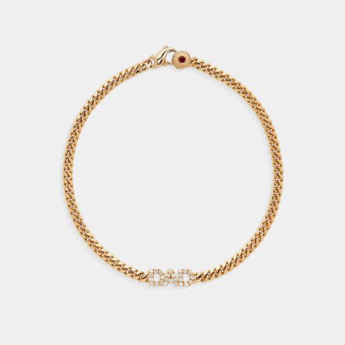 Bracciale personalizzato piccola groumette in oro giallo e diamanti - Rosanna Cattolico gioielli