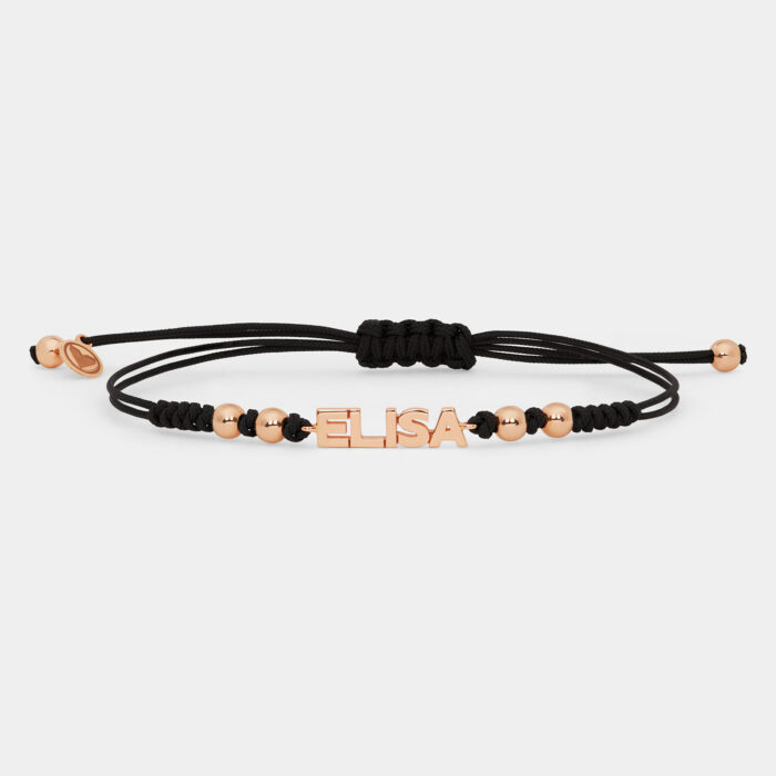 Bracciale con cordino personalizzato in oro rosa - Rosanna Cattolico gioielli