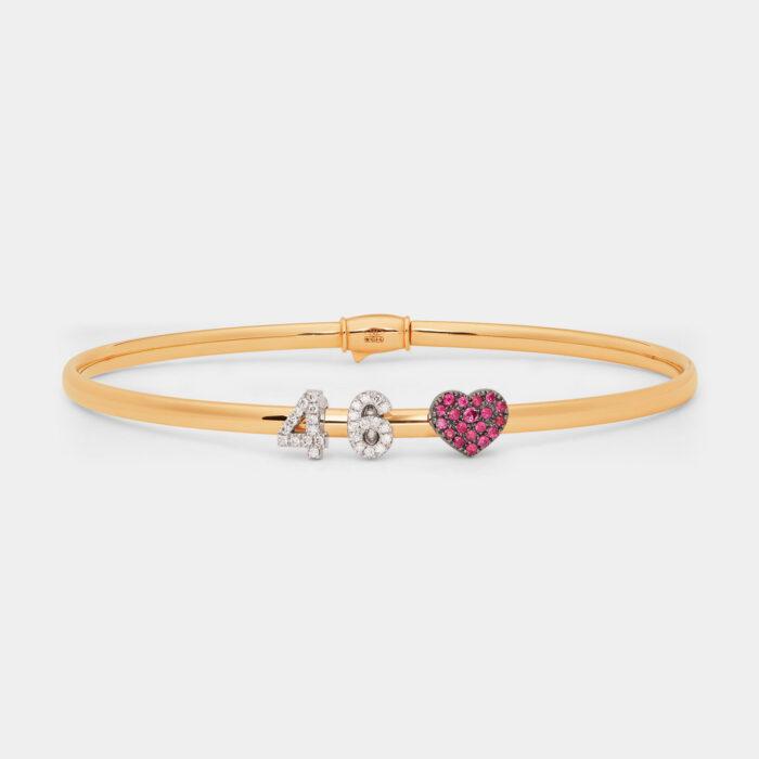 Bracciale rigido componibile in oro giallo personalizzabile con lettere singole in brillanti - Rosanna Cattolico gioielli