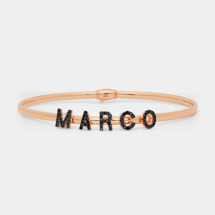 Bracciale rigido componibile in oro rosa personalizzabile con lettere singole in brillanti - Rosanna Cattolico gioielli