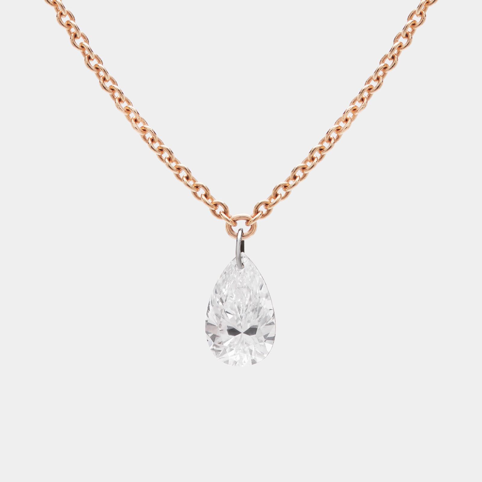 Collana pendente in oro rosa e diamante goccia - Rosanna Cattolico gioielli