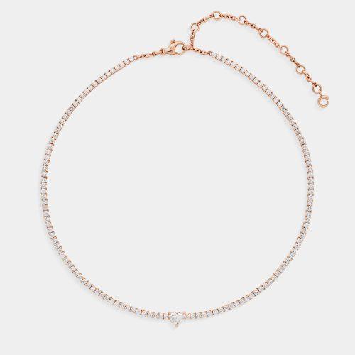 Crivelli - Choker tennis in oro rosa e diamanti con diamante cuore - Rosanna Cattolico Gioielli