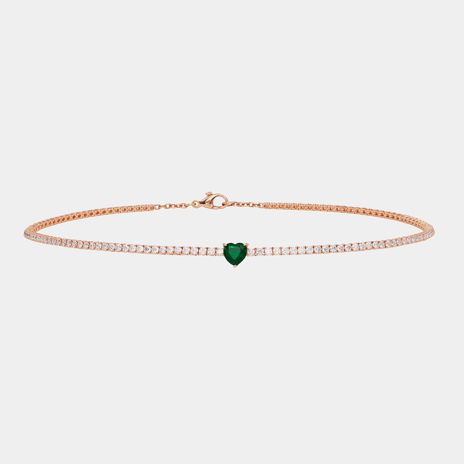 Crivelli - Choker tennis in oro rosa e diamanti con smeraldo cuore - Rosanna Cattolico Gioielli