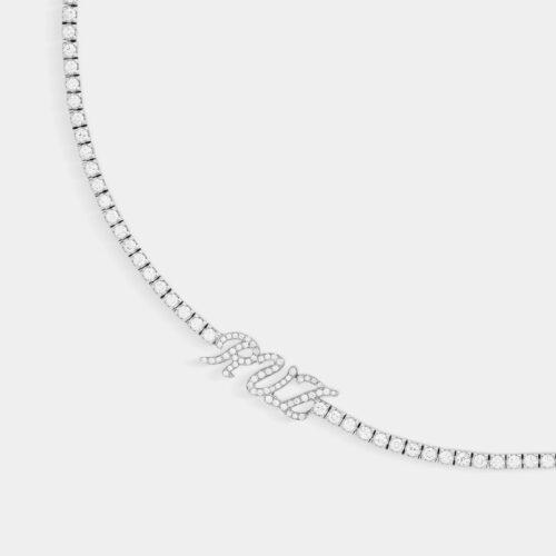 Girocollo tennis con personalizzazione in oro bianco e diamanti - Rosanna Cattolico Gioielli