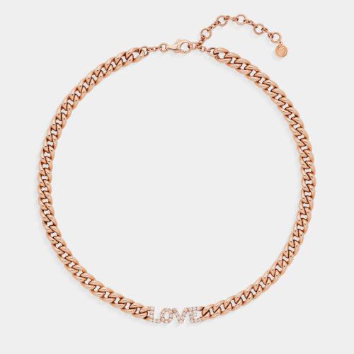 Girocollo Love groumette in oro rosa e diamanti - Rosanna Cattolico gioielli