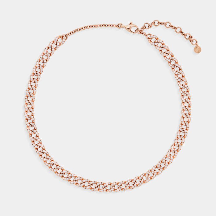 Girocollo groumette in oro rosa e diamanti - Rosanna Cattolico gioielli