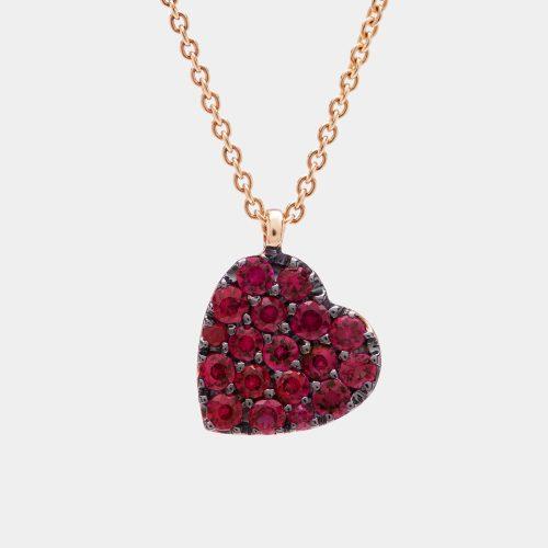 Girocollo cuore in oro rosa e rubini - Rosanna Cattolico Gioielli