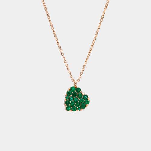 Girocollo cuore in oro rosa e smeraldi - Rosanna Cattolico Gioielli